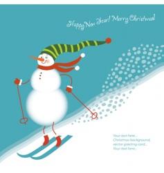 Snowman go alpine skis vector