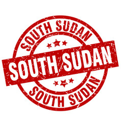 south sudan red round grunge stamp vector image