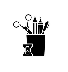 stationery set black icon sign on isolated vector image