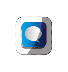Sticker color square 3d button with dialog box vector