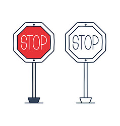 stop road sign icon in doodle cartoon style with vector image