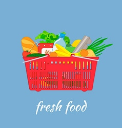 Supermarket basket with food vector image