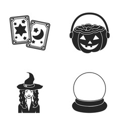 Tarot cards holiday halloween magician in a hat vector