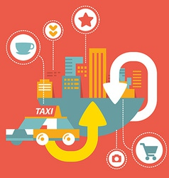 taxi service in big city with icons vector image