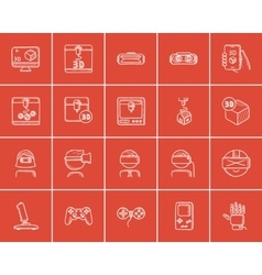 Technology sketch icon set vector image
