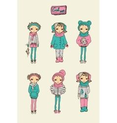 teenage girl set vector image