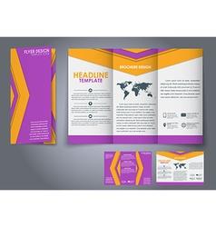 Template triple folding brochures vector
