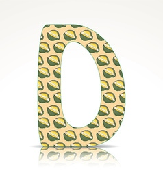 The letter D of the alphabet made of Durian vector