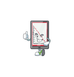 Thumbs up down chart vertical tablet for analysis vector