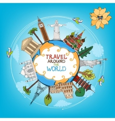 travel landmarks monuments around world vector image