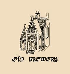 Vintage old brewery logotypehand drawn vector