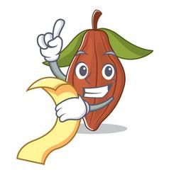 With menu cacao bean mascot cartoon vector