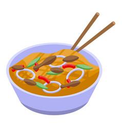 Wok bowl icon isometric style vector