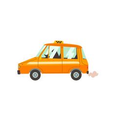 yellow taxi car with driver taxi service cartoon vector image