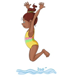 a girl diving into water vector image