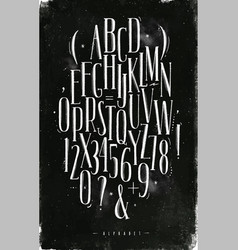 alphabet gothic font chalk vector image vector image