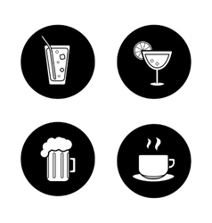 Drinks black icons set vector image