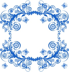 floral frame with butterflies vector image vector image