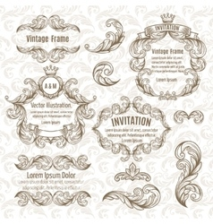 set frame and vintage design elements vector image vector image