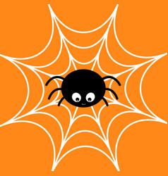 spider on the web cobweb white cute cartoon baby vector image