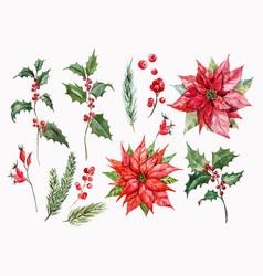 watercolor christmas set vector image