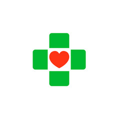 cross with a heart in the middle logo clinic vector image vector image