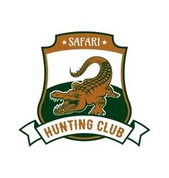 Safari hunting club badge with alligator croc vector