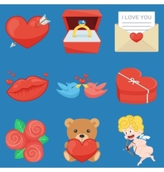 Set Of Vintage Happy Valentines Day icons vector image
