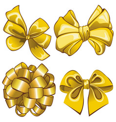 Set with golden bows vector