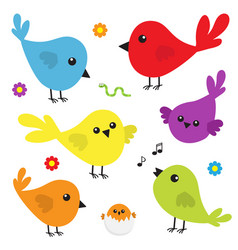 Bird icon set cute cartoon colorful character vector