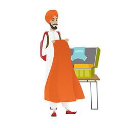 hindu traveler man packing suitcase vector image vector image