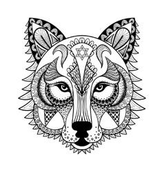 ornamental Wolf ethnic zentangled mascot vector image