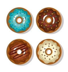 set donuts blue white and chocolate sweet vector image