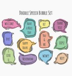 doodle speech bubble set vector image