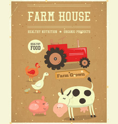 Farm house poster vector