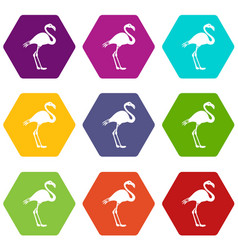 flamingo icon set color hexahedron vector image vector image
