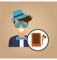 hipster character smartphone headphones vintage vector image