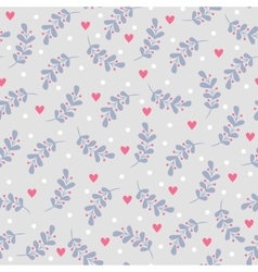 Seamless pattern with leaves and hearts vector image