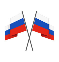 two crossed russian flag vector image