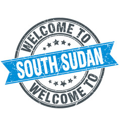welcome to south sudan blue round vintage stamp vector image
