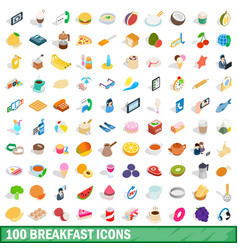 100 breakfast icons set isometric 3d style vector