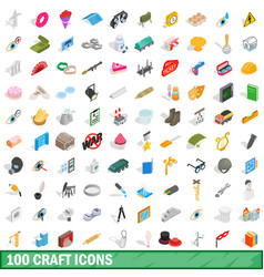 100 craft icons set isometric 3d style vector