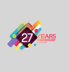 27 years anniversary colorful design with circle vector