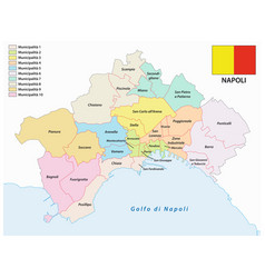 administrative map naples with flag vector image