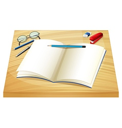 An empty notebook above the wooden table vector image