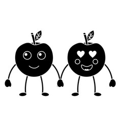apples happy and in love fruit kawaii icon image vector image