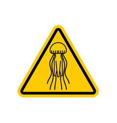 Attention jellyfish caution yellow road sign vector