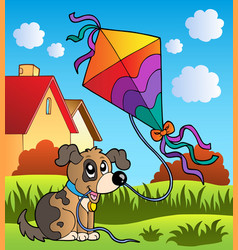 Autumn scene with dog and kite vector