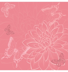 Background with flowers and butterflies hand-drawn vector