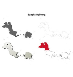 Bangka-Belitung blank outline map set vector image